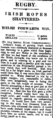 The match report in The Irish Times. Photo: The Irish Times archives