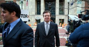 Paul Manafort, President Donald Trump's former campaign chairman, leaves  an arraignment hearing in Alexandria, Virginia last week. Photograph: Al Drago/The New York Times