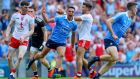 Dublin's Niall Scully celebrates scoring a goal against Tyrone in last year's All-Ireland final.  Tyrone led 0-5 to 0-1 in the 18th minute but then conceded 1-3 in five minutes. Photograph: Tommy Dickson/Inpho