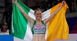 Ireland's Ciara Mageean celebrates after finishing in third place in the Women's 1500m final at the European Indoor Athletics Championships. Photograph: Andrew Boyers/Reuters