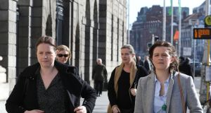 Sean Quinn's daughters (from left)  Aoife, Colette,  Ciara,  and Brenda at the Four Courts on Wednesday for the continuation of their  High Court action against IBRC. Photograph: Collins Courts