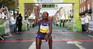 Helalia Johannes: the  former Dublin Marathon winner  from Namibia was first across the line in Nagoya in a time of 2:22:25. Photograph:  Cathal Noonan/Inpho