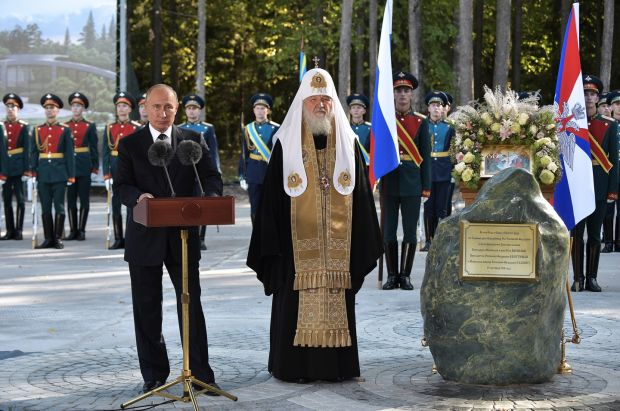 Mr Putin (left) and Patriarch Kirill of Moscow and All Russia at a ceremony to bless the foundation stone of the Cathedral of the Armed Forces at Patriot Park on September 18th, 2018. Photograph: Alexei Nikolsky/Getty
