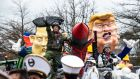 Carnival parade in the streets of Aalst: the raucous three-day Belgian carnival is  formally recognised by Unesco.  Photograph: Jonas Roossens/AFP/Getty