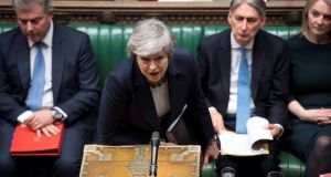 Britain's prime minister Theresa May in the House of Commons on Wednesday. Photograph: Reuters