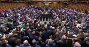 Tellers announce the results of the vote on Brexit in the House of Commons in London on Tuesday night. Photograph: Reuters TV/Reuters