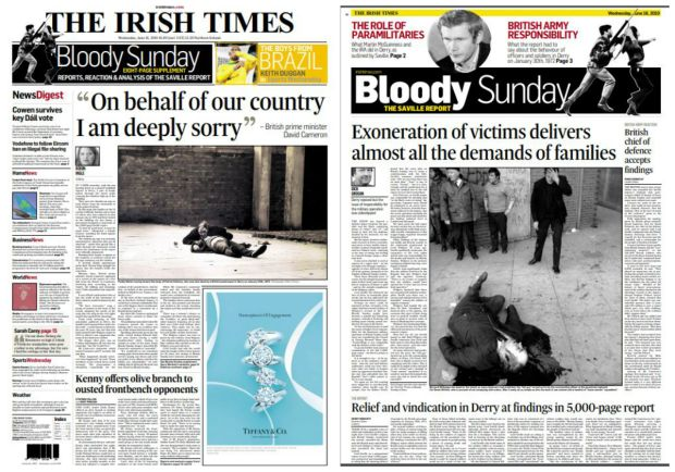 The front page of the Irish Times and the front page of the Irish Times supplement on Wednesday, June 16th 2010 after the Saville inquiry