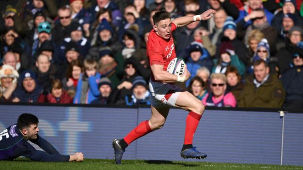 Josh Adams scores for Wales againt Scotland. Photograph: Stu Forster/Getty