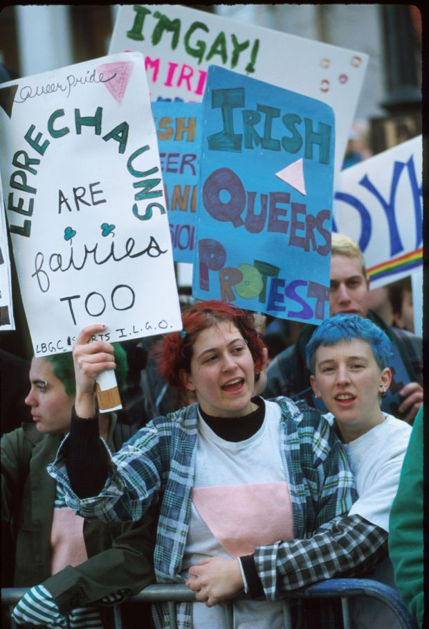 Members of the Irish Gay and Lesbian Organization protest the 235th annual St Patrick's Day Parade on March 16th, 1996 in New York City. The protesters demanded that gays and lesbians be allowed to march in the parade with everyone else. Photograph: Evan Agostini/Liaison