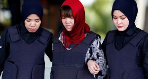Doan Thi Huong, who is a suspect in the murder  of the North Korean leader's half brother Kim Jong-nam, at Kuala Lumpur airport in February 2017. Photograph: Lai Seng Sin/Reuters