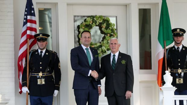 Taoiseach Leo Varadkar arrives for a breakfast meeting with US vice-president Mike Pence at his official residence. Photograph: Brian Lawless/PA Wire