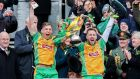Corofin's Ciaran McGrath and Micheal Lundy  after defeating  Nemo Rangers of Cork  in the 2018 club final in Croke Park.   Photograph: Gary Carr/Inpho
