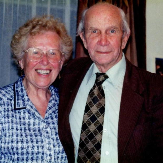 Christina Woollard with her husband, Leslie, who died in 1995