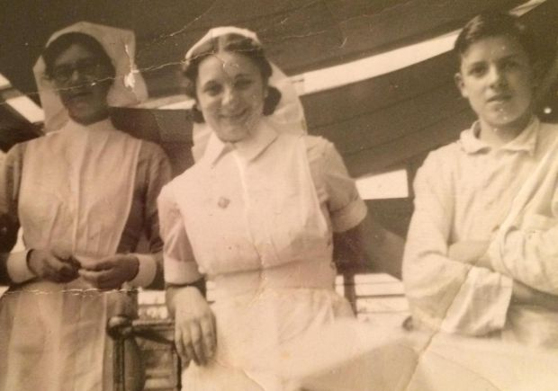 Marian Raphael with nursing colleagues at Hammersmith Hospital, in London