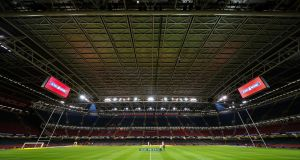 The closed roof in the Principality Stadium. Photograph: Billy Stickland/Inpho