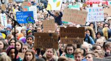 Several thousand school children rally in a climate protest  in Bergen, Norway. Photograph:  EPA