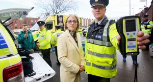 Road Safety Authority chief executive Moyagh Murdock and Garda  Chief Supt Aidan Reid at a launch of a road safety appeal at Victoria Quay, Dublin. Photograph: Gareth Chaney Collins
