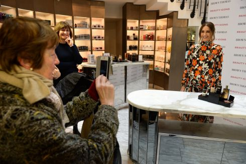 Supermodel Yasmin Le Bon (centre) at Brown Thomas in Dublin to launch Beauty Icons, an 18-day event featuring masterclasses and the first Brown Thomas Beauty Awards, voted on by members of the public. Photograph: Dara Mac Donaill/The Irish Times