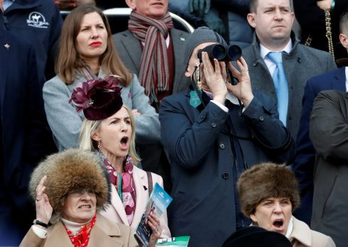 Michael O'Leary and his wife Anita Farrell (second row, left), during the Cheltenham Festival. Photograph: Matthew Childs/Reuters