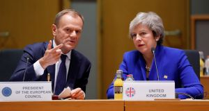 European Council president Donald Tusk with British prime minister Theresa May at EU leaders summit in Brussels last November. File photograph: Olivier Hoslet/Reuters.