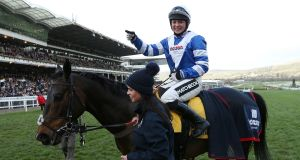 Bryony Frost, on board Frodon, became the first female jockey to win a Grade One chase at Cheltenham on Thursday. Photograph: PA