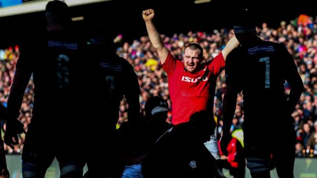 Ken Owens of Wales celebrates during the recent Six Nations clash with Scotland in Murrayfield, Edinburgh. Photograph: Tommy Dickson/Inpho