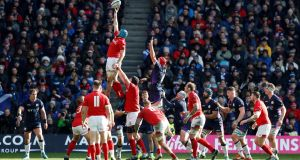 Wales' Justin Tipuric wins a line out during the Six Nations fixture with Scotland earlier this month. Photograph:  Russell Cheyne/Reuters