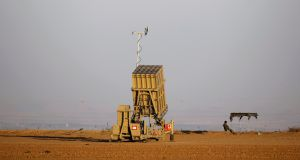 An Iron Dome rocket interceptor battery deployed near central Gaza Strip, southern Israel. Photograph: Amir Cohen/Reuters