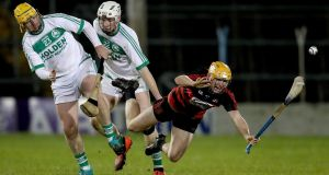Ballygunner's Stephen O'Keeffe is fouled by Mark Aylward and Patrick Mullen of Ballyhale Shamrocks in the All-Ireland Senior Club Championship semi-final last month. Photograph: Inpho