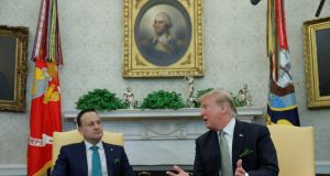 Taoiseach Leo Varadkar and US president Donald Trump in the Oval Office on  March 14th:  When Varadkar got a word in edgeways, it came as a surprise he was still there.  Photograph: Jim Young/Reuters