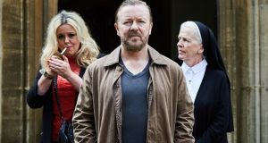 Ricky Gervais in After LIfe: slovenly, hard-drinking and misanthropic