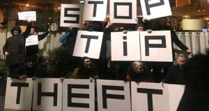 Protesters outside The Ivy in Dublin on Thursday night. Photograph: Áine McMahon