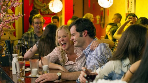 Still of Bill Hader and Amy Schumer in Trainwreck (2015)
