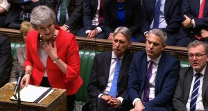 UK prime minister Theresa May speaking to the house after losing a  second meaningful vote on her deal