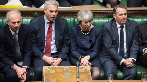 Britain's prime minister Theresa May with members of her front bench in the House of Commons on Thursday. Photograph: Jessica Taylor/UK Parliament/ EPA