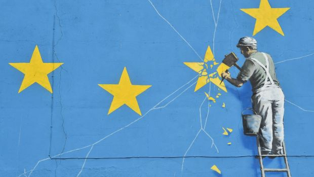 A mural by British artist Banksy in Dover. Photograph: Glyn Kirk/AFP/Getty Images