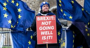 An anti-Brexit protester outside the Houses of Parliament on Wednesday. Photograph: Jack Taylor/Getty Images