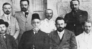 Members of the Hebrew Language Council, 1912. On the right is Lithuanian-born Jewish scholar and leader Eliezer Ben-Yehuda (1858-1922), the father of Modern Hebrew. Photograph:  Jewish Chronicle/Heritage Images/Getty Images