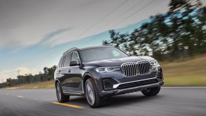 The X7's front grille is   as if someone has strapped two garden gates to the front of the car