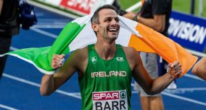 Ireland's Thomas Barr celebrates finishing third in the Men's 400m Hurdle  final in the 2018 European Athletics Championships. Photograph:  Morgan Treacy/Inpho