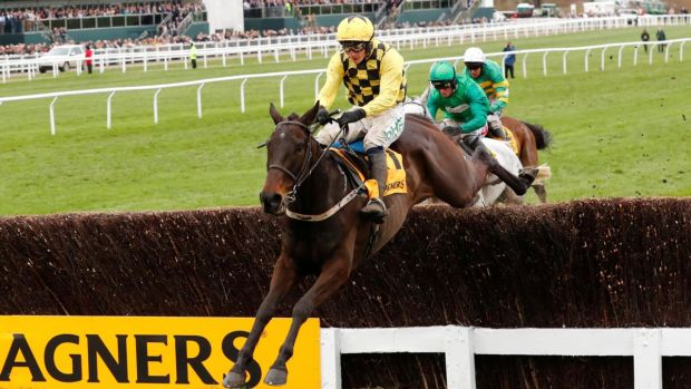 Al Boum Photo ridden by Paul Townend on the way to winning the Magners Cheltenham Gold Cup. Photograph: Eddie Keogh/Reuters