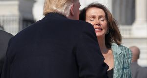 US president Donald Trump and House speaker Nancy Pelosi: Even if the Democratically controlled House of Representatives was to vote for impeachment, conviction still needs a two-thirds majority in the Senate. Photograph: Jim Young