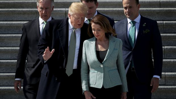 US president Donald Trump confers with Speaker of the House Nancy Pelosi, after St Patrick's Day celebration on March 14, 2019 with Richard Neal and Taoiseach Leo Varadkar. Photograph: Win McNamee/Getty
