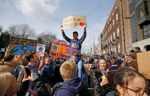 Image from the March for Climate Change which went from Stephen's Green to The Dail.  Photograph Nick Bradshaw for The Irish Times