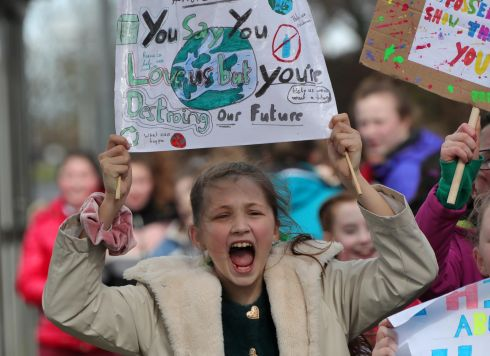 Children from Glasnevin Educate Together National School  during a school protest march/strike  to raise awareness of the urgency for positive action in addressing Climate Change... Picture Colin Keegan, Collins Dublin
