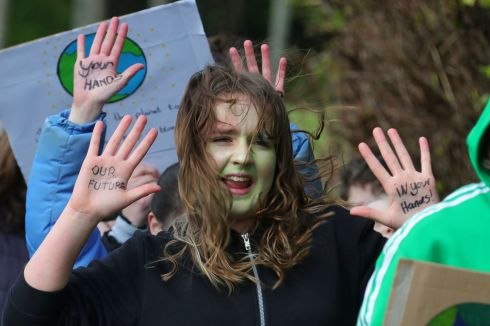 Sixth class children from Glasnevin Educate Together National School pictured this afternoon during a school protest march/strike  to raise awareness of the urgency for positive action in addressing Climate Change... Picture Colin Keegan, Collins Dublin