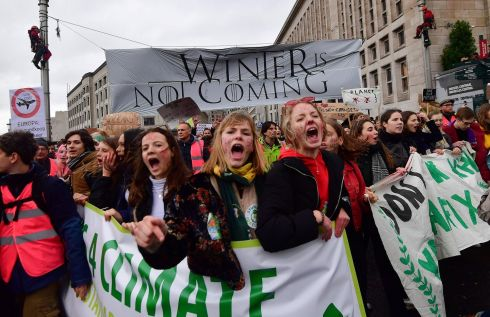 A banner reading 'Winter is not coming' is displayed as people take part in a demonstration against climate change as part of the 'Fridays for Future' on March 15, 2019 in Brussels. - Tens of thousands of young people skipped school across the globe on March 15, 2019 and marched through the streets on a global day of student protests aiming to push world leaders into action on climate change. (Photo by EMMANUEL DUNAND / AFP)EMMANUEL DUNAND/AFP/Getty Images