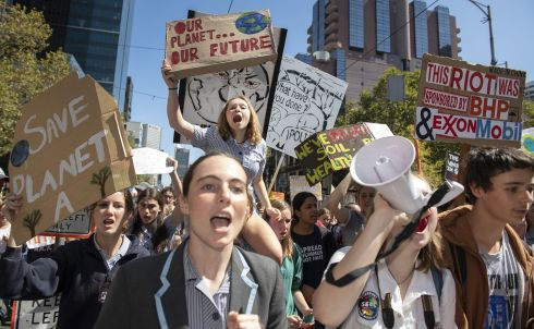 School students take part in the global #ClimateStrike rally in Melbourne, Friday, March 16, 2019. Hundreds of thousands of students are expected to strike worldwide demanding urgent political action on climate change.  EPA/ELLEN SMITH