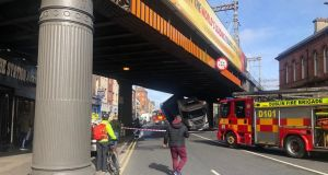 Amiens Street was closed in both directions. Photograph: Declan Conlon