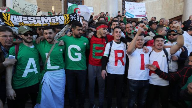 Algerian protesters in Algiers: for decades many accepted heavy-handed rule as the price of stability. Photograph: Mohamed Messara